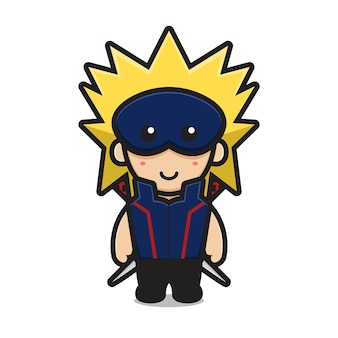 Caractère ninja mignon porter un masque et double épée cartoon vector illustration art martial concept icône