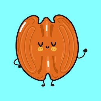 Caractère de noix de pécan drôle mignon