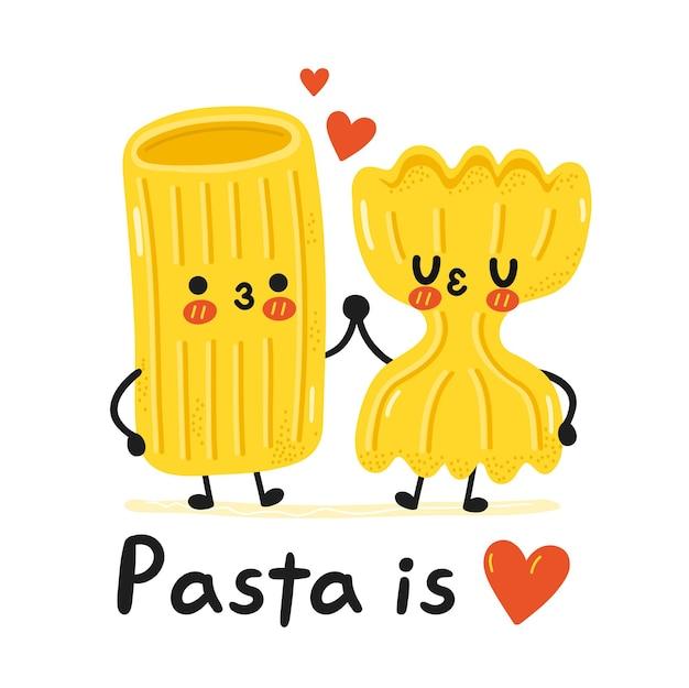 Caractère de nouilles de pâtes macaroni drôle mignon. les pâtes sont un slogan d'amour. icône d'illustration de caractère kawaii de dessin animé de vecteur. isolé sur fond blanc. concept mignon de mascotte de dessin animé de pâtes de nouilles macaronis