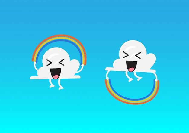 Caractère de nuage sautant l'activité de corde arc-en-ciel