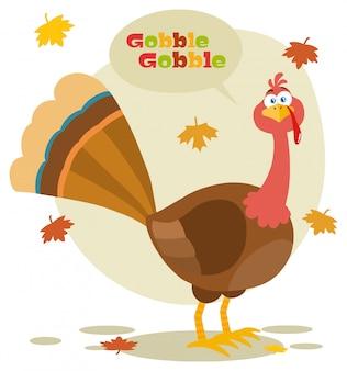 Caractère d'oiseau dinde de thanksgiving illustration design plat isolé