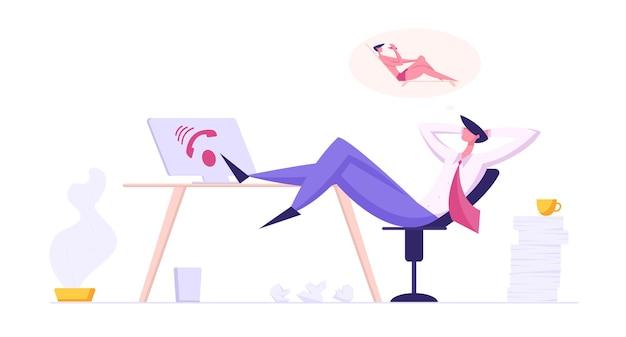 Caractère de l'opérateur paresseux de la hotline se détendre sur le lieu de travail