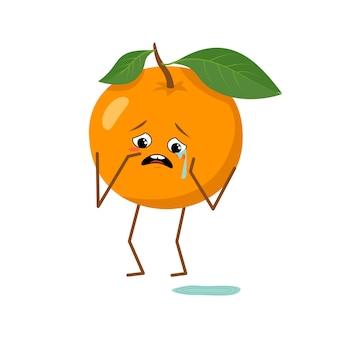 Caractère orange mignon avec des émotions de pleurs et de larmes isolés sur fond blanc. le héros drôle ou triste, fruit et légume orange. télévision illustration vectorielle