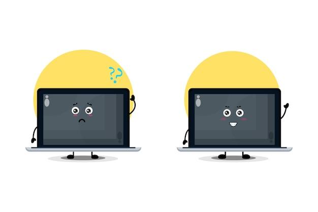 Caractère d'ordinateur portable mignon avec une expression confuse et heureuse