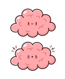 Caractère d'organe de cerveau humain drôle triste sain et malade