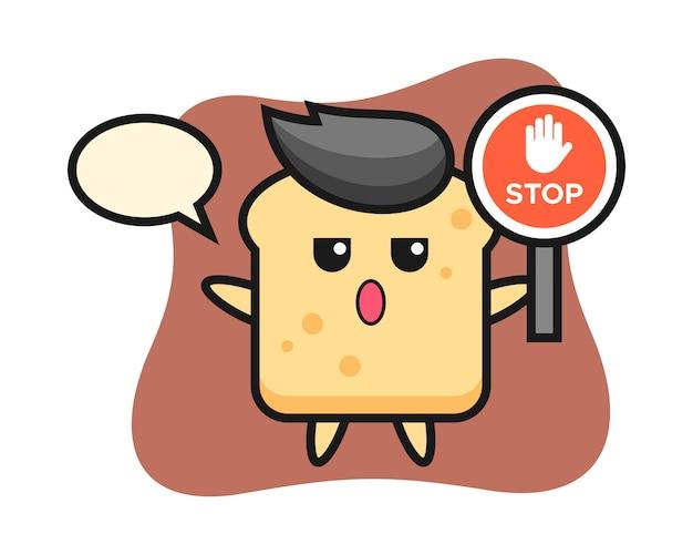 Caractère de pain tenant un panneau d'arrêt