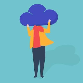 Caractère d'une personne avec un nuage comme illustration de la tête
