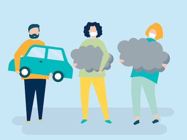Caractère des personnes détenant des symboles de pollution atmosphérique