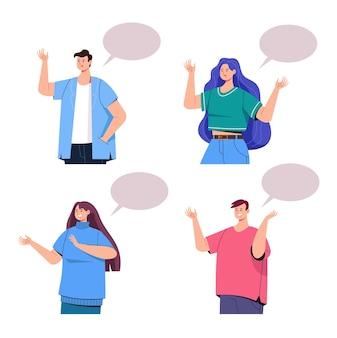 Caractère de personnes parlent ensemble de fond blanc isolé.