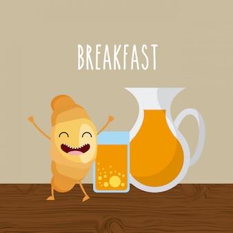 Caractère de petit déjeuner délicieux et nutritif