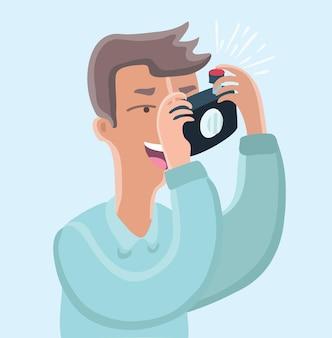 Caractère de photographe avec des caméras prenant des photos