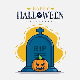 Caractère de pierre tombale et de citrouille avec illustration d'icône de salutations d'halloween