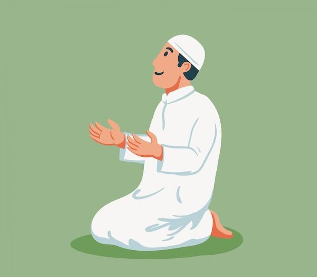 Caractère plat d'un homme musulman assis et prie.