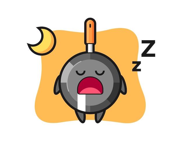 Caractère de poêle à frire dormir la nuit