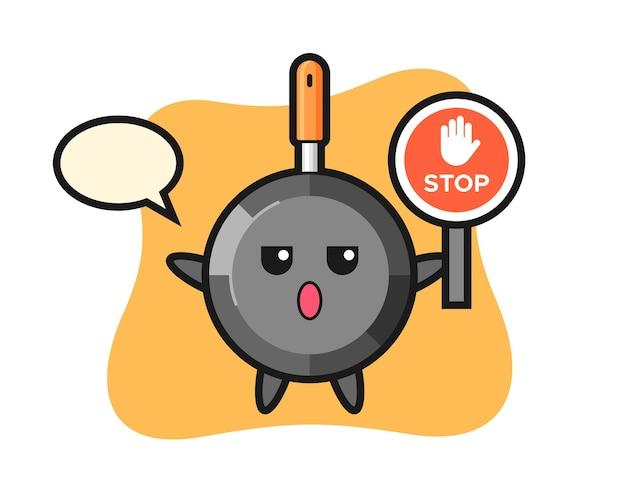 Caractère de poêle à frire tenant un panneau d'arrêt