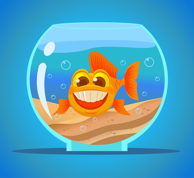 Caractère de poissons d'aquarium.