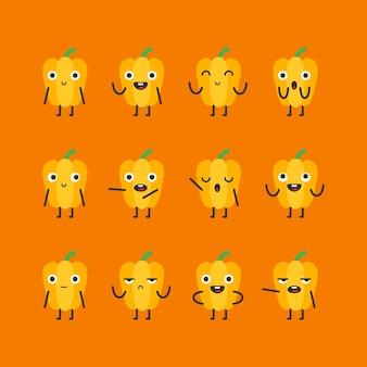 Le caractère de poivron jaune définit différentes options et émotions. illustration vectorielle.