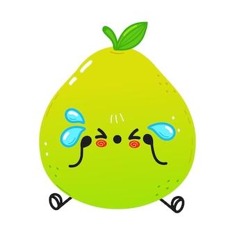 Caractère de pomelo triste et pleurant mignon