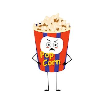 Caractère de pop-corn mignon dans une boîte de vacances avec des émotions en colère visage grincheux yeux furieux bras et jambes f ...