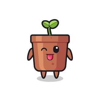 Caractère de pot de plante mignon dans une expression douce tout en tirant la langue, design de style mignon pour t-shirt, autocollant, élément de logo