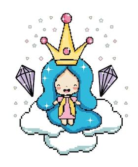 Caractère de princesse de pixel art
