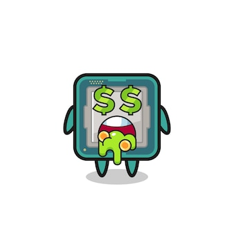 Caractère de processeur avec une expression de fou d'argent, design de style mignon pour t-shirt, autocollant, élément de logo