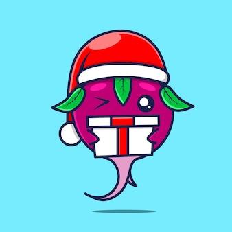Caractère de radis mignon avec bonnet de noel