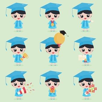 Caractère de remise des diplômes de fille mignonne avec des éléments de remise des diplômes
