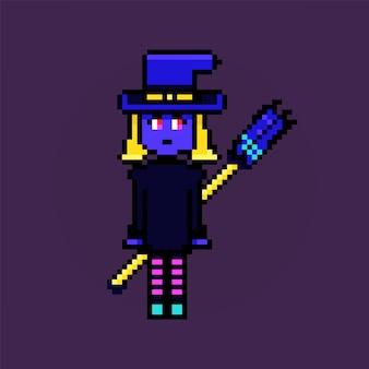 Caractère rétro mignon de personnage de sorcière d'halloween de pixel