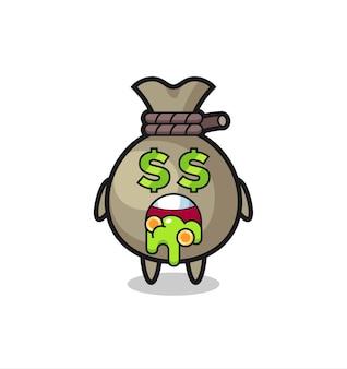 Caractère de sac d'argent avec une expression de fou d'argent, design de style mignon pour t-shirt, autocollant, élément de logo