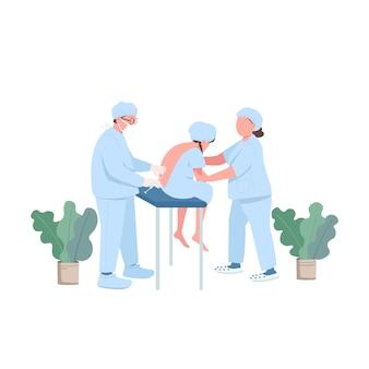 Caractère sans visage de couleur plat patient enceinte. traitement pour la libération de la douleur. soins prénatals. docteur en clinique. illustration de dessin animé isolé par injection spinale pour la conception graphique et l'animation web