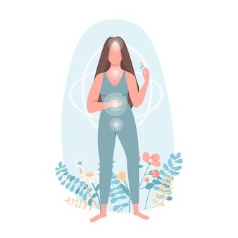 Caractère sans visage de couleur plate d'harmonie. soins de santé des femmes. bien-être corporel. pratique du yoga. centres chi. illustration de dessin animé isolé spiritualité