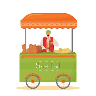 Caractère sans visage de couleur plate de vendeur de nourriture de rue. kiosque mobile de cuisine traditionnelle indienne, illustration de dessin animé isolé de service de restauration rapide