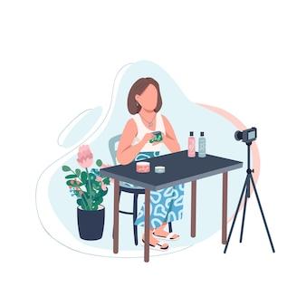 Caractère sans visage de couleur plate de vlogger de beauté. passe-temps créatif pour les femmes. créateur de contenu. flux vidéo. illustration de dessin animé isolé blogueur de maquillage pour la conception graphique et l'animation web