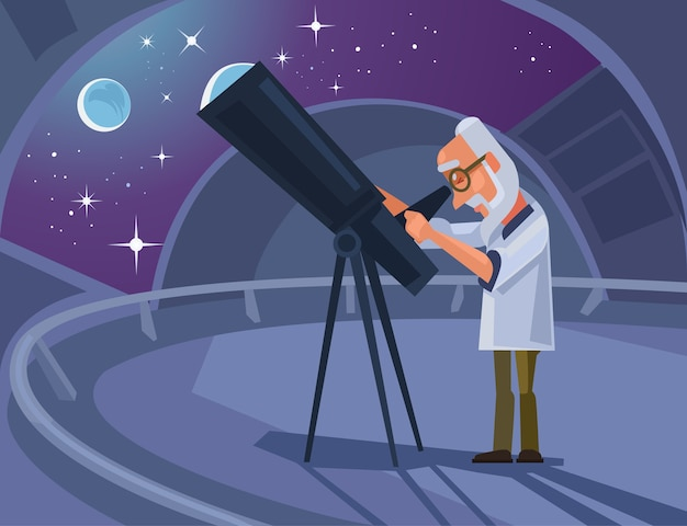 Caractère scientifique astronome regardant à travers le télescope. illustration de dessin animé plat