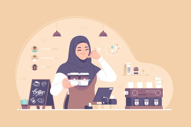 Caractère de serveuse barista hijab dans le café
