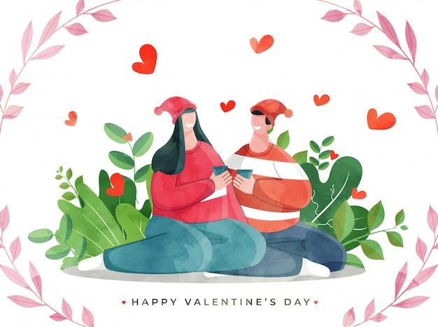Caractère de smiley couple appréciant avec des boissons sur la vue de la nature pour la célébration de la saint-valentin heureuse.