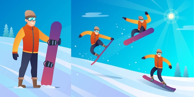Caractère de snowboardeur d'hiver avec illustration de différentes poses de saut