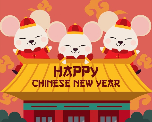 Le caractère de la souris mignonne avec la maison chinoise.