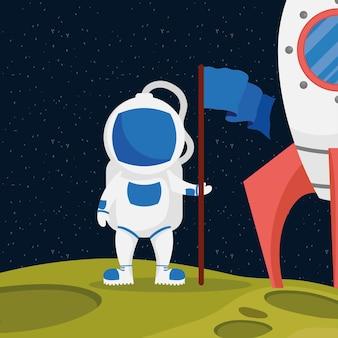 Caractère spatial astronaute avec drapeau et fusée