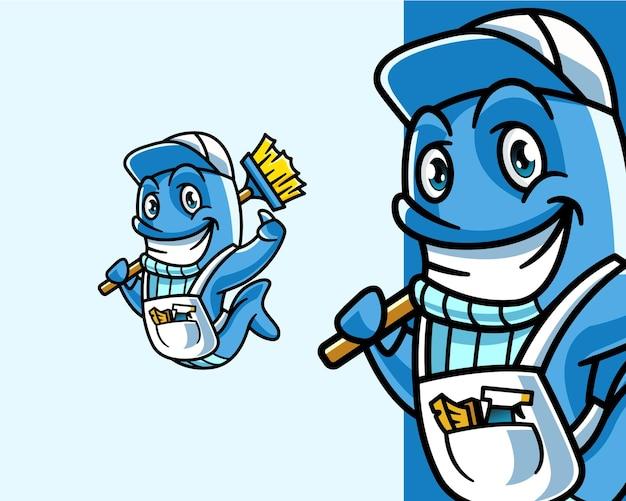 Caractère sympathique de mascotte de travailleur de lavage de baleine