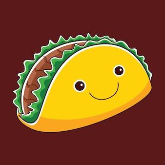 Caractère de taco mignon dans un style design plat