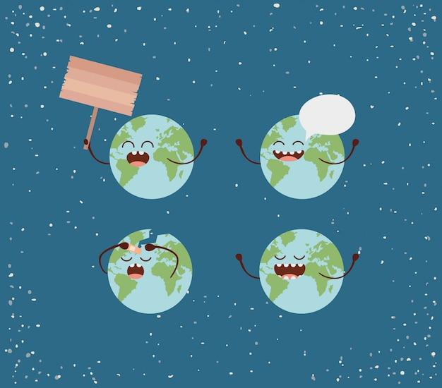 Caractère de la terre avec des bulles et une étiquette en bois