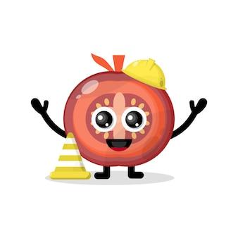 Caractère de tomate de travailleur de la construction