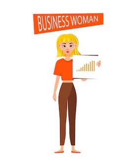 Caractère de travail de femme d'affaires.