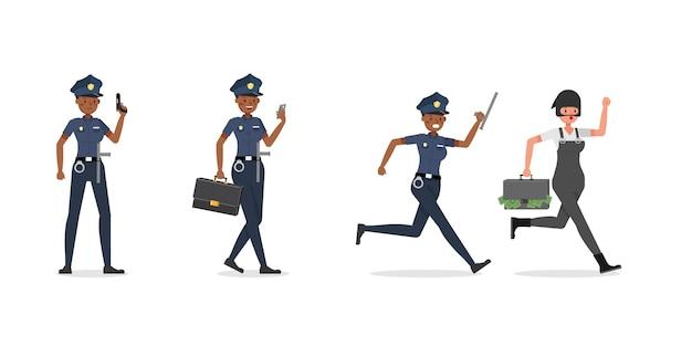 Caractère de travail de policière.