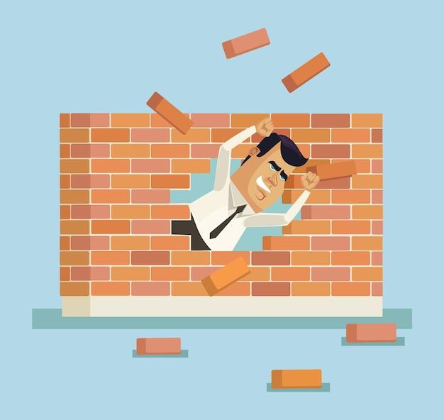 Caractère de travailleur de bureau homme d'affaires courageux fort a brisé le mur de briques, illustration de dessin animé plat