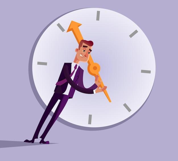 Caractère de travailleur de bureau homme d'affaires essayant d'arrêter de tourner la flèche de temps de poussée. illustration de dessin animé plat
