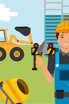 Caractère de travailleur de construction avec bulldozer de spatule et bétonnière