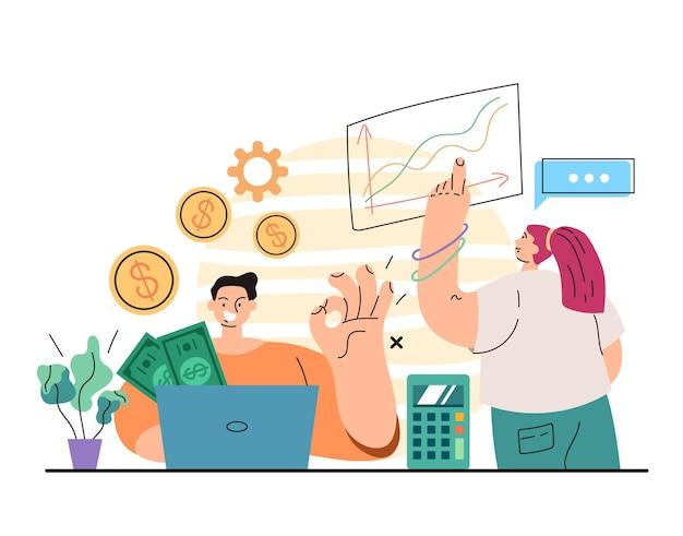 Caractère de travailleur de gestionnaire de bureau de banque d'homme comptant le revenu monétaire
